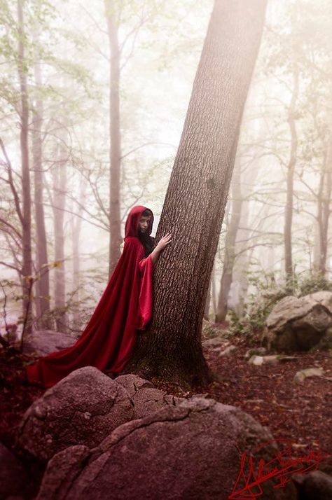 Red Ridding Hood Cape Cloak in red velvet by CostureroReal on Etsy