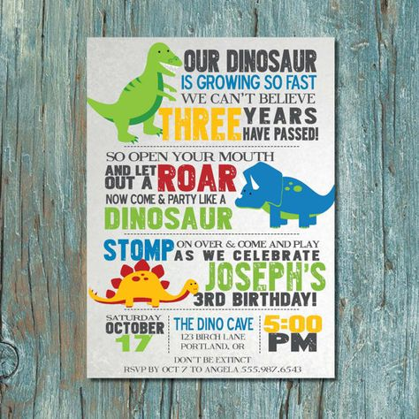 Birthday Dinosaur Party Invitation By Shortyitsurbirthday On Etsy