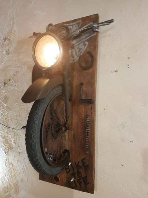 Amazing Wall Lamps Made with Recycled Motorbike Parts - iD L.- Amazing Wall Lamps Made with Recycled Motorbike Parts – iD Lights Amazing Wall Lamps Made with Recycled Motorbike Parts 2 – Wall Lamps & Sconces – iD Lights - Outdoor Light Fixtures, Outdoor Lighting, Rustic Lighting, Lighting Ideas, Lighting Design, Motorbike Parts, 125cc Motorbike, Motorbike Cake, Motorbike Girl