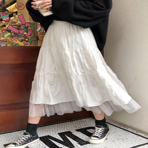 Korean Style White Black Maxi Skirt - White / L