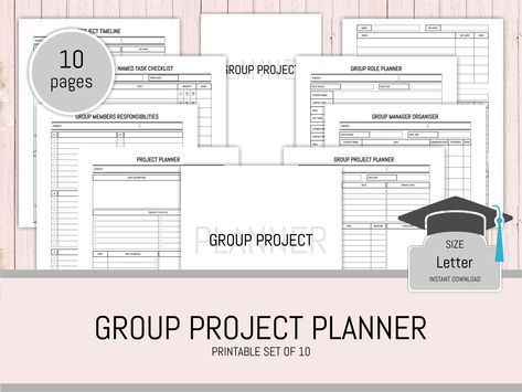 student planner printable group project planner productivity planner