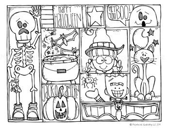 Free Halloween Coloring Page By Melonheadzthis Set Contains All Of The Images As Show Free Halloween Coloring Pages Halloween Clipart Free Halloween Coloring