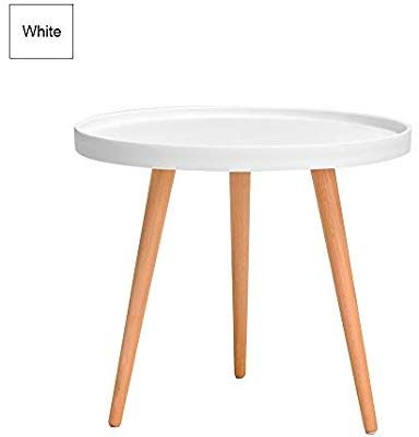 Small Round Plastic Side Table With 3 Leg Beech Wood Stand Modern Tray Table Dining Coffee Snack Table For Living Room Black End Tables Living Room Table Table