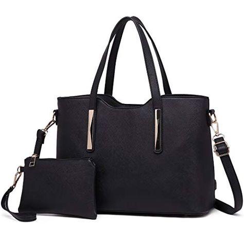 052042a1de Miss Lulu Fashion Ladies Pu Saffiano Leather Top Handle Bags 2 Pieces Tote  Shoulder Handbags for Women (1719 Black)