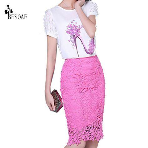 Lace Pen Skirt Elegant Women 2017 Summer Autumn Fashion Korean Style High Waist Skirts Hollow Out Office Ladies Skirts