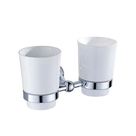 Amazon Com Copper Double Cup Holder Wall Mounted Toothbrush Tumbler Rack Ceramic Cups Holders For Home Bathro Toothbrush Tumbler Brushing Teeth Hotel Bathroom
