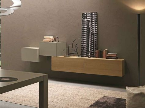 Mobili sospesi in soggiorno menos es mas wall mounted tv