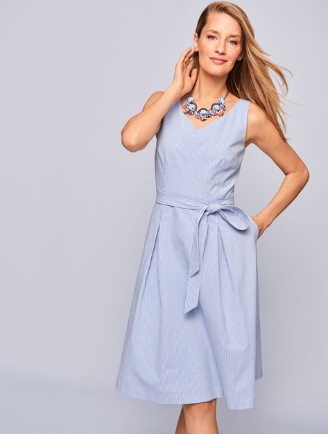 f540b8d2083 Belted Seersucker Fit-and-Flare Dress in 2019
