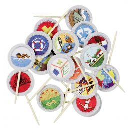 Festive full-color picks feature the designs of the 17 merit badges required to earn the rank of Eagle Scout