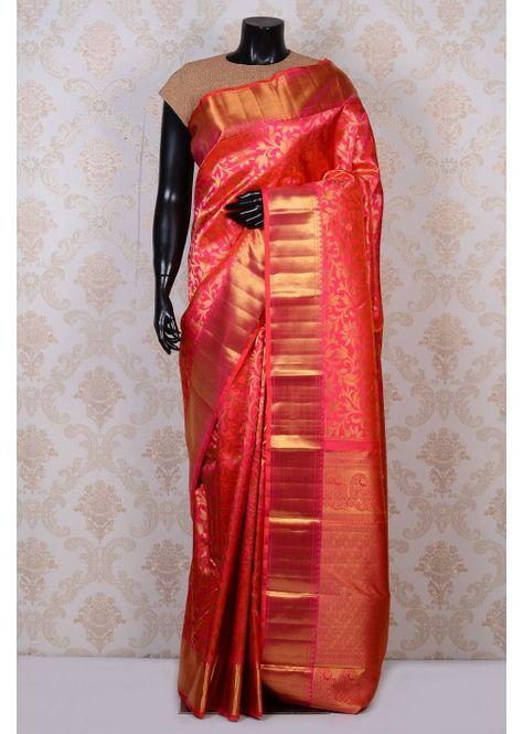 f59482cdd6 Hot pink lovely kanchipuram silk saree with gold border-SR17199 ...