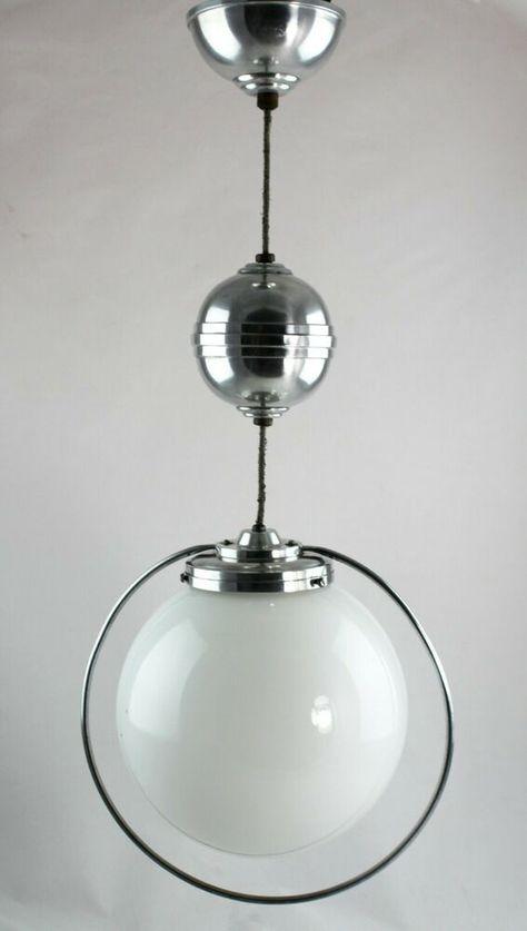 Art Deco Lampe Ceiling Lamp Deckenlampe Opalglas Saturnring Zuglampe In 2020 Art Deco Lampen Bauhaus Lampen Lampen