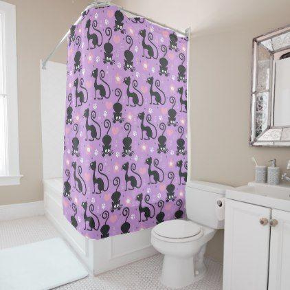 Cute Black Cat And Flowers Light Purple Model Shower Curtain