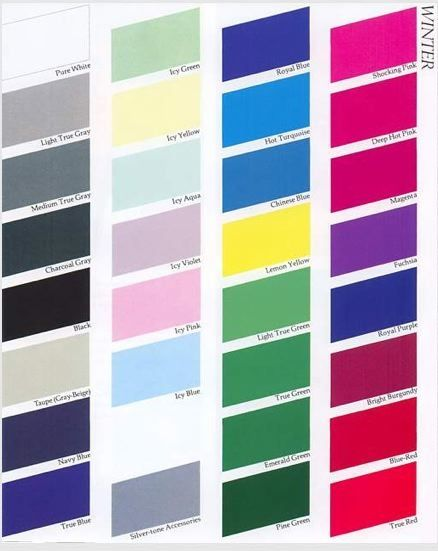Your Makeup Clothing Color Palette Season Colors Winter And Swatch