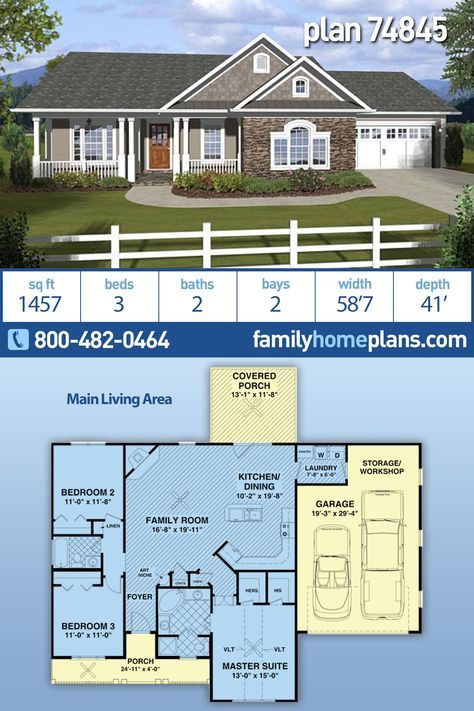 Traditional Style House Plan 74845 With 3 Bed 2 Bath 2 Car Garage Ranch House Plans House Plans Ranch House Plan