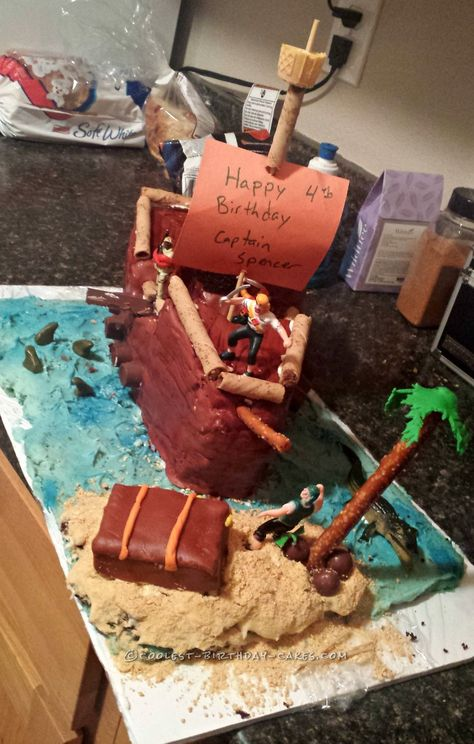 Coolest 4th Birthday Pirate Ship Cake... Coolest Birthday Cake Ideas