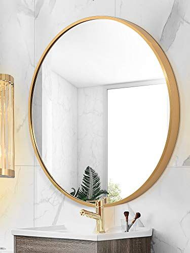 Tmgy Gold Round Mirror Wall Mounted Large Circle Mirrors For Wall Decor 23 6in Big Metal Frame Wall Mi Framed Mirror Wall Large Circle Mirror Round Gold Mirror Round mirror gold frame