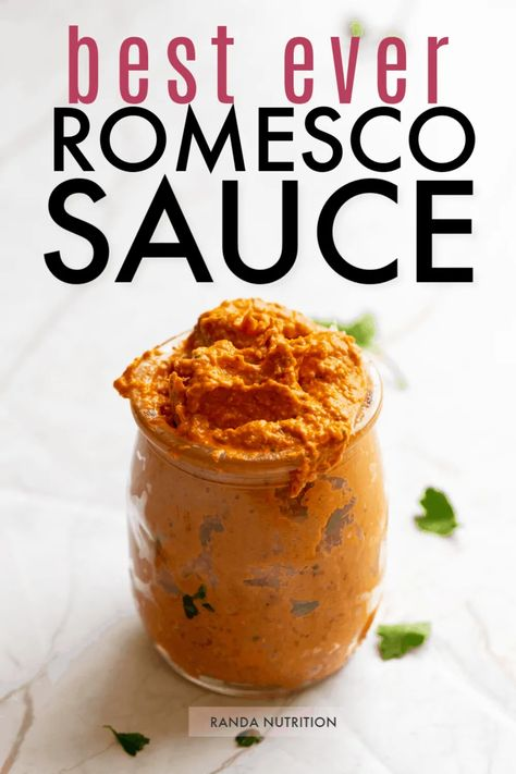 If you're looking for the best sauce for chicken, steak, and fish then you have to make this healthy and easy romesco sauce recipe! Made in a blender, this healthy and low carb sauce recipe is a must! Perfect on pasta, zucchini noodles, or as a dip for vegetables for Whole30. #romescosauce #whole30recipes #healthyrecipes