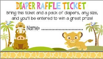 Baby Shower Diaper Raffle Game LION KING Tickets Cards Party Favors Custom Personalized on Etsy, $4.00
