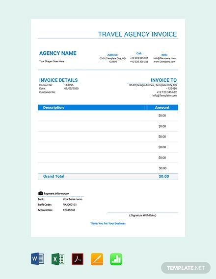 Travel Agency Invoice Template Free Pdf Google Docs Google Sheets Excel Word Template Net Invoice Template Travel Agency Words