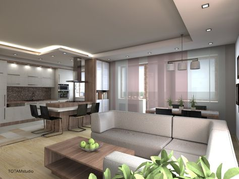 Otwarta Kuchnia Z Salonem W Bloku Szukaj W Google House Interior Home Interior Design