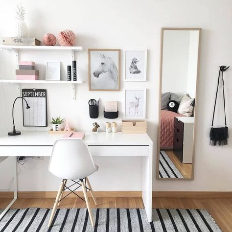 home decor ikea Get Organized With These Home Office Ideas Dream Home Office Looks to Get You Organized - Small Home Office, Home Office Decor, Desk Decor Home Office Design, Home Office Decor, Home Design, Interior Design, Office Setup, Design Ideas, Office Chic, Home Office Bedroom, White Desk Home Office