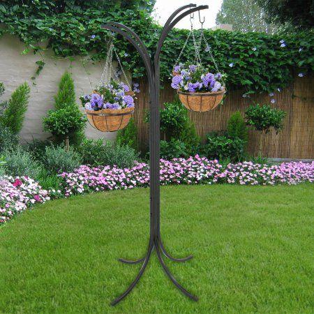 Zeny Plant Hanging Basket Tree Planter Steel Stand Holder Backyard
