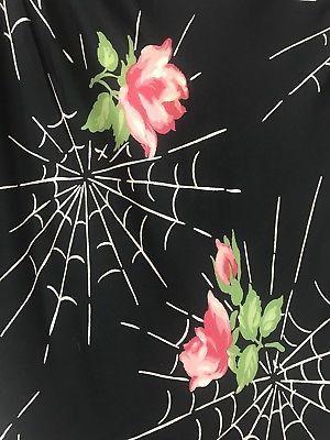 Style Vintage Années 1940 rose rayonne écharpe Avec Spider Web design.