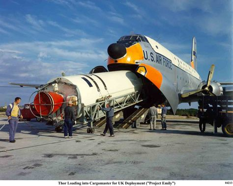 Loading a SM-75 #Thor IRBM into a C-124 Globemaster II for deployment to UK (#ProjectEmily)