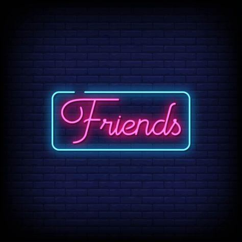 Friends neon signs style text vector Pre...   Premium Vector #Freepik #vector #love #hand #light #typography