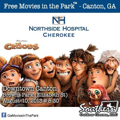 Northside Hospital Cherokee's Movies in the Park™ - Canton series returns to Browns Park this summer.  For a list of free outdoor movies around Atlanta in 2012 visit: www.Facebook.com/GaMoviesInThePark