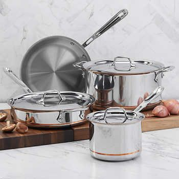 All Clad Copper Core 7 Piece Cookware Set Cookware Set Stainless Steel Cookware Set Induction Cookware