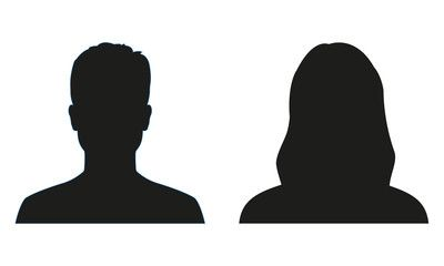 Man and woman silhouette. People avatar profile or icon. Vector ...