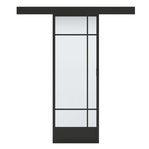 Porte Coulissante Vitrée Noir Emma Artens H204 X L83 Cm