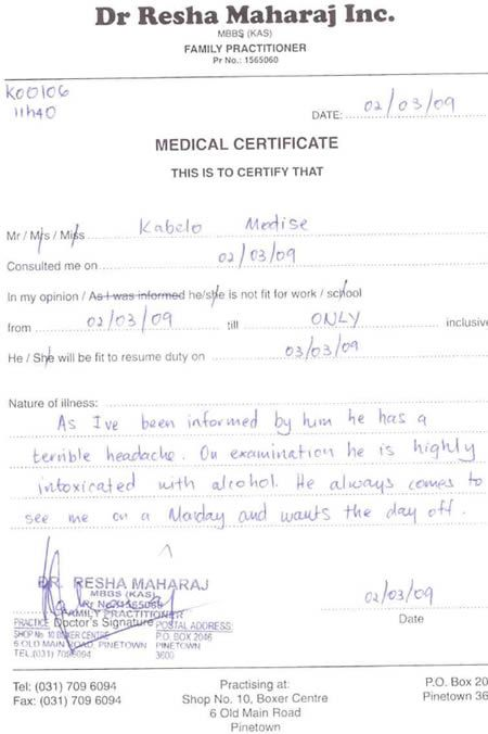 8 Funniest Sick Notes - funny notes Sick - medical certificate for sick leave