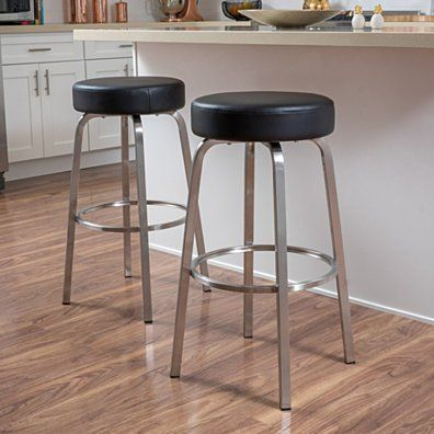 Duff Backless Ivory Leather Bar Stools Set Of 2 Leather Bar