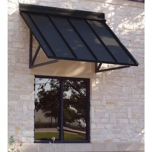 Awntech Houstonian 56 In Wide X 36 In Projection Black Solid Vertical Patio Fixed Awning Lowes Com In 2020 Door Overhang Windows Exterior Door Awnings