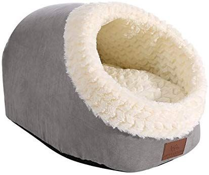 Amazon Com Miss Meow Pet Bed Cave Shape Self Warming Two Way Conversion Cat Dog Bed Cave House Faux Suede Waterproof Nonski Heated Cat Bed Cat Bed Indoor Cat