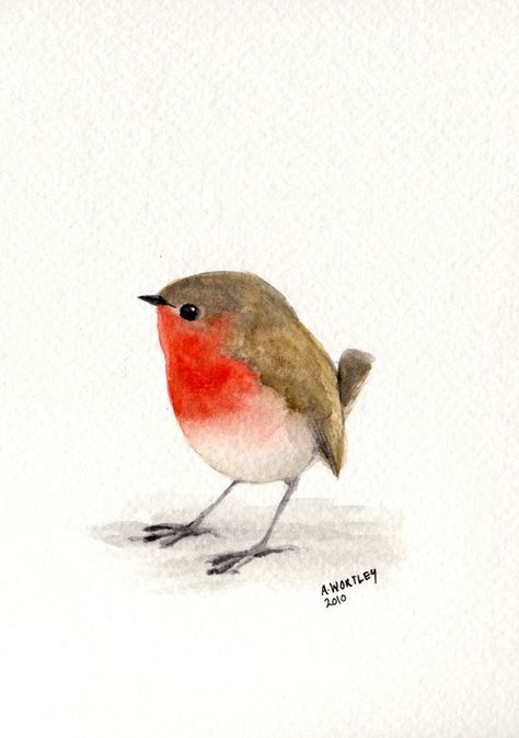 a1c6af210 Little Red Robin original watercolour by wildsunart on Etsy