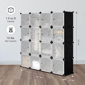 Langria 16 Cubes Armoires Etageres Plastique Meuble Rangement Chambre Avec Portes Noir Armoire Plastique Cube Rangement Rangement Plastique