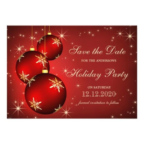 Christmas Party Save The Date Template With Red Ornaments 5x7