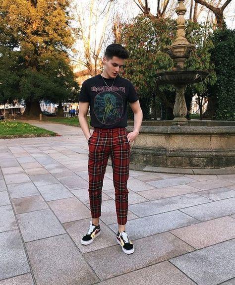 Joggers Pants Hip-hop Ankle Strap Zip Plaid Track Pants