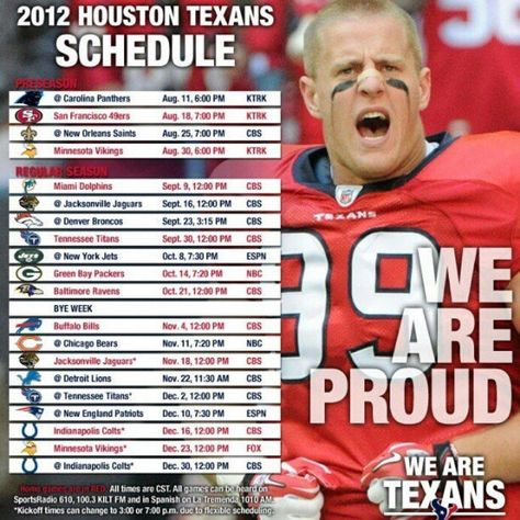 GO TEXANS!!! Anyone have a schedule with my guy Arian Foster in the background???   :)