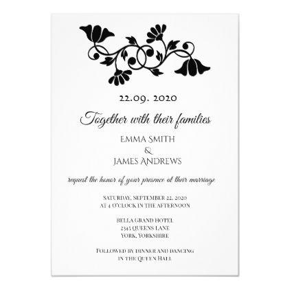 Simple Elegant Black And White Wedding Invitation Zazzle Com Black And White Wedding Invitations White Wedding Invitations Wedding Invitations Elegant Simple