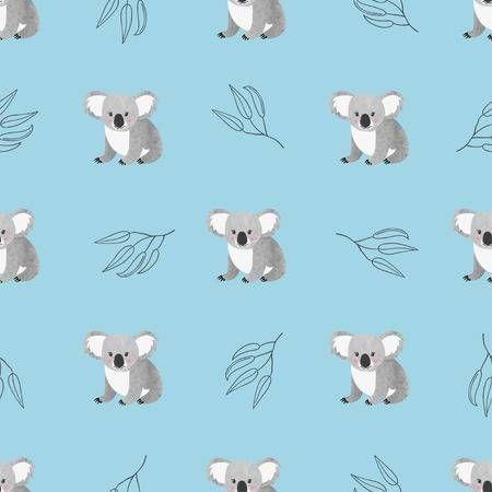 Seamless Pattern With Cute Watercolor Koala Bears On Blue Vector Koala Illustration Koala Cute Cartoon Wallpapers