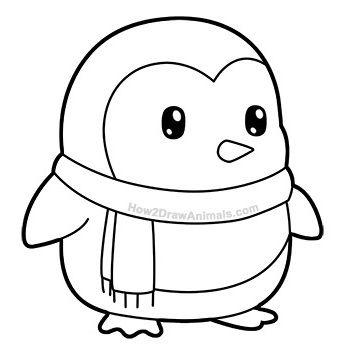 Penguin In A Scarf Penguin Cartoon Cute Penguin Cartoon Penguin Coloring
