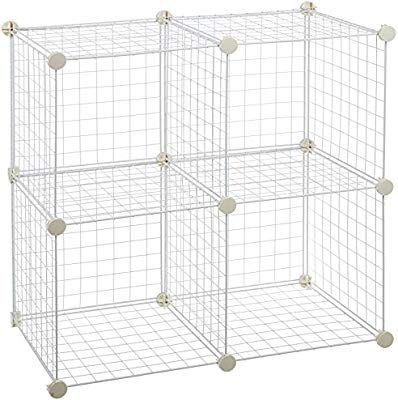 Amazon Com Amazonbasics 4 Cube Grid Wire Storage Shelves White Home Kitchen Wire Storage Shelves Cube Storage Bathroom Storage Shelves