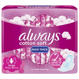 Always Cotton Soft Maxi Thick Large Sanitary Pads30 Pcs Soft Maxi Things To Sell