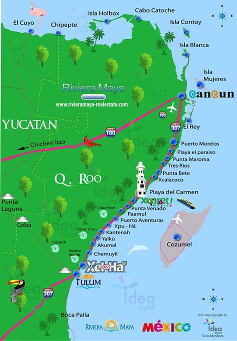 Mapa Mexico Riviera Maya.Riviera Maya Riviera Maya Map Viajes A Cancun Mapa De