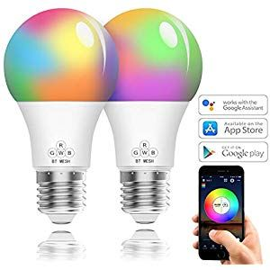 Smart Led Lampe 2er Pack Wlan Mehrfarbige Dimmbare Led Gluhbirne E27 Ohne Hub Benotig Kompatibel Mit Alexa Und Google Assistant 350 Lumen Ap Led Light Bulb App