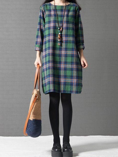 Casual Round Neck Slit Pocket Fabulous Plaid Shift Dress